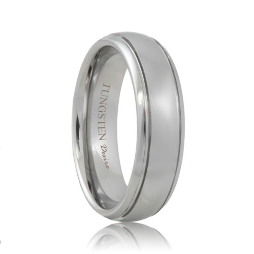 White Tungsten 2 Grooved Polished Ring