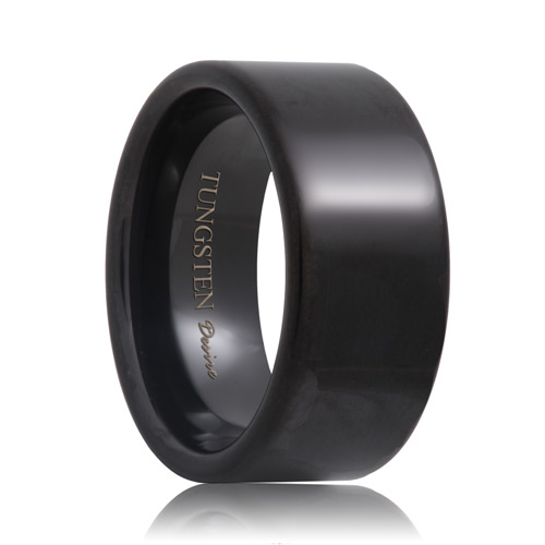 Flat 10mm Wide Black Tungsten Carbide Wedding Ring