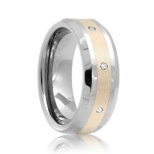 Beveled Diamond Set 8mm Tungsten Band with Sterling Silver Inlaid