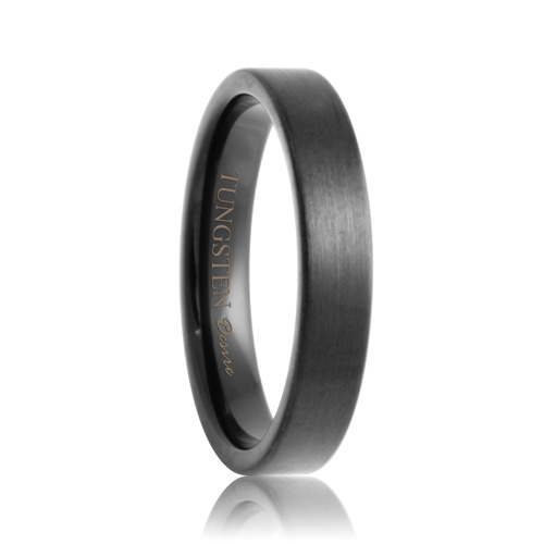 Flat Black 4mm Brushed Black Tungsten Carbide Wedding Band