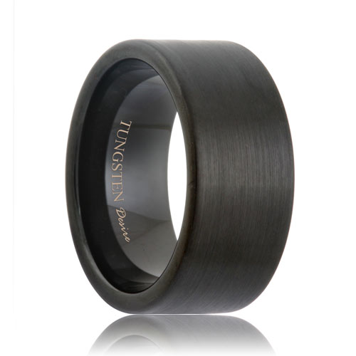 10mm Wide Flat Matte Black Tungsten Band