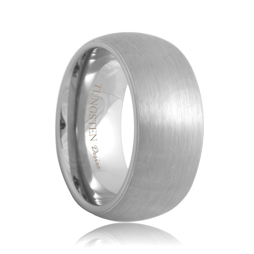 10mm Dome Brush Finish White Tungsten Ring