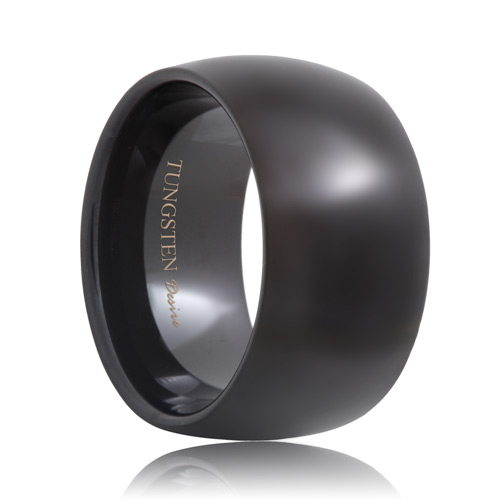 Round 12mm Extra Wide Black Tungsten Wedding Band