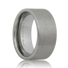 Flat Brushed 10mm Wide Tungsten Carbide Ring