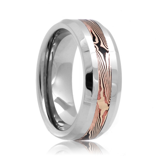 Beveled Damascus Style Mokume Gane Inlay Tungsten Band (6mm - 8mm)