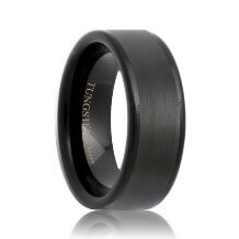 Flat Brushed Black Tungsten Band with Polished Edges(6mm - 8mm)