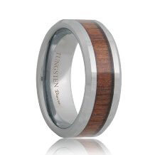Koa Wood Inlay Tungsten Ring Carbide (6mm - 8mm)