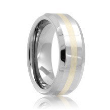 Beveled Tungsten Carbide Band Sterling Silver Inlayed (6mm - 8mm)