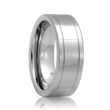 Flat Dual Groove Unique Tungsten Carbide Wedding Band (6mm - 8mm)