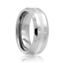 Beveled Tungsten Wedding Ring with Platinum Inlaid (6mm - 8mm)