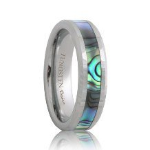 Tungsten Wedding Ring with Mother of Pearl Inlay