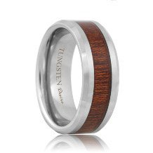 Tungsten Inlaid Rose Wood Wedding Band (6mm - 8mm)