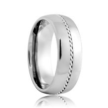Round Hand Woven Platinum Rope Inlaid Tungsten Carbide Ring (6mm - 8mm)