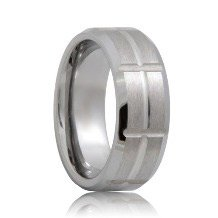 Brushed Intersecting Grooves Tungsten Engagement Ring