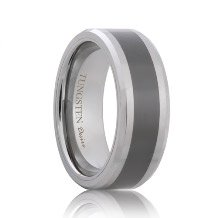 Beveled Tungsten Band with Ceramic Inlay (6mm - 8mm)