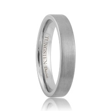 4mm Pipe Cut Brushed White Tungsten Band