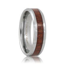 Tungsten Ring with Wood Inlay (RoseWood)
