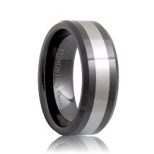 Beveled Black Ceramic Tungsten Inlay Band (6mm - 8mm)