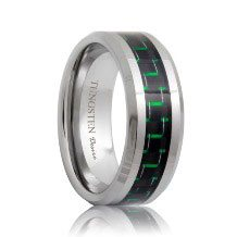 Black & Green Carbon Fiber Inlay Tungsten Band (6mm - 8mm)