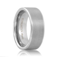 Flat Best Tungsten Wedding Ring with Brushed Center (6mm - 8mm)
