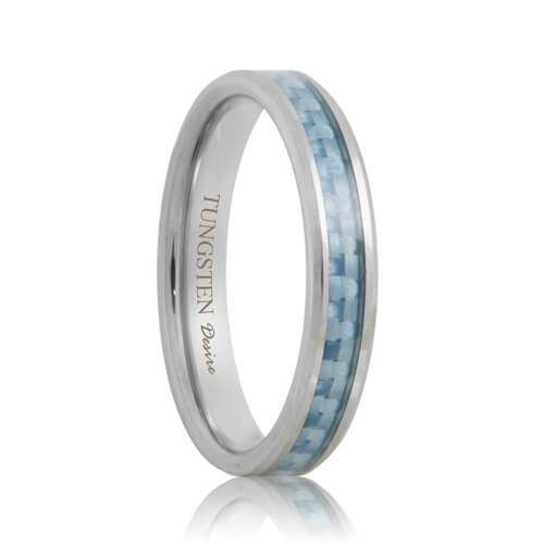 Blue Carbon Fiber Inlay Hand Woven Tungsten Carbide Band