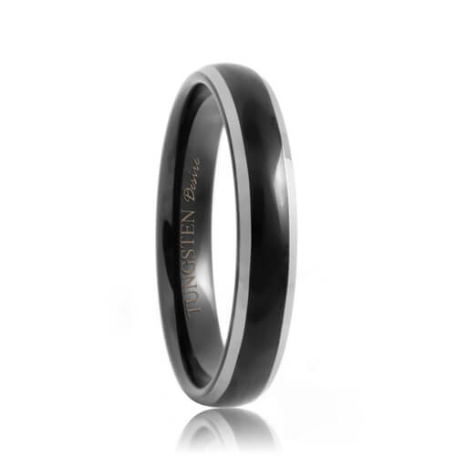 Round 4mm Black Tungsten Ring with Polished Beveled Edges