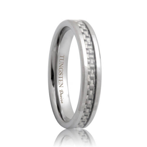 White Carbon Fiber Inlaid 4mm Tungsten Wedding Ring