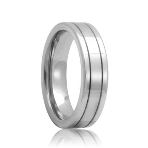 Groove Unique Tungsten Carbide Wedding Band View Larger Image
