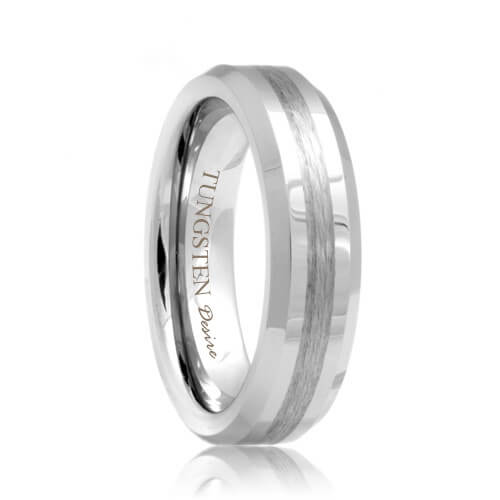 Beveled Comfort Fit Tungsten Jewelry Band with a Brushed Stripe
