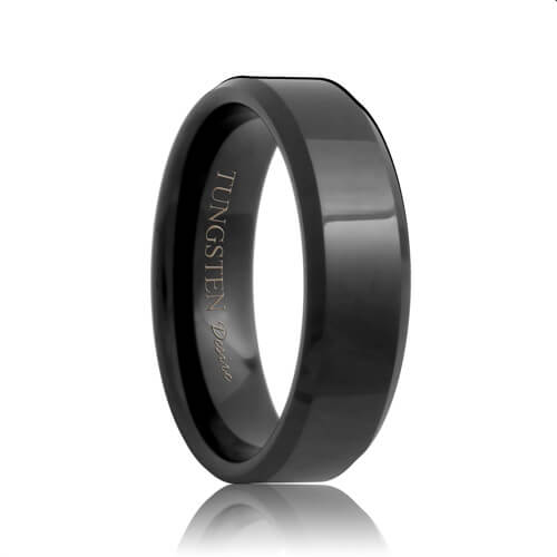 Beveled Black Tungsten Carbide Wedding Ring