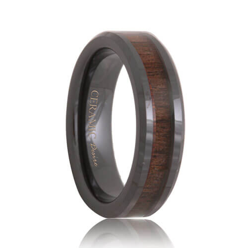 Ceramic Black Walnut Wood Inlaid Wedding Band
