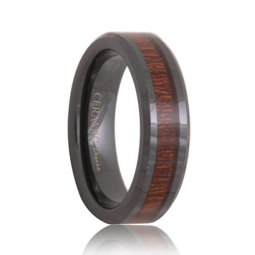 Black Ceramic Rose Wood Grain Inlay Wedding Ring