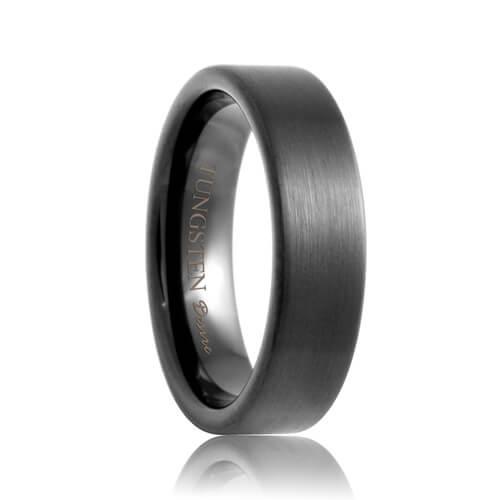 6mm plano flat brushed black tungsten ring