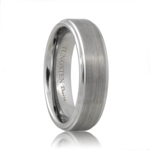 Raised Center Brushed Designer Tungsten Carbide Ring