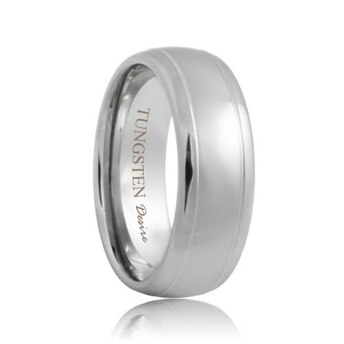 Domed Dual Groove Polished Designer Tungsten Wedding Ring (6mm - 8mm)