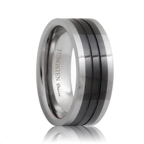 Flat Ceramic Inlay Two Tone Tungsten Ring with Grooves
