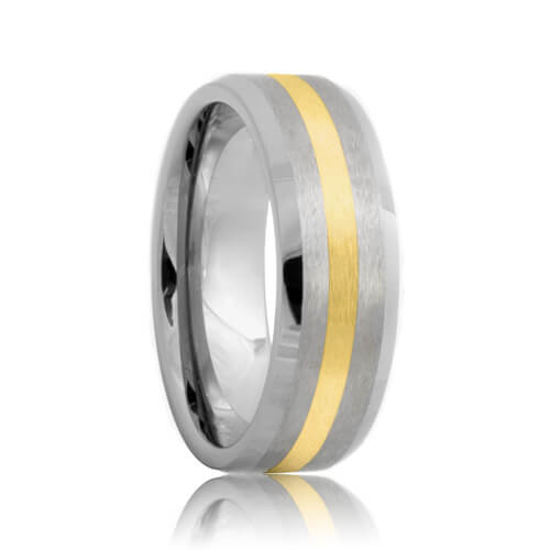 Beveled Brushed Tungsten Ring with Gold Inlaid (6mm - 8mm)