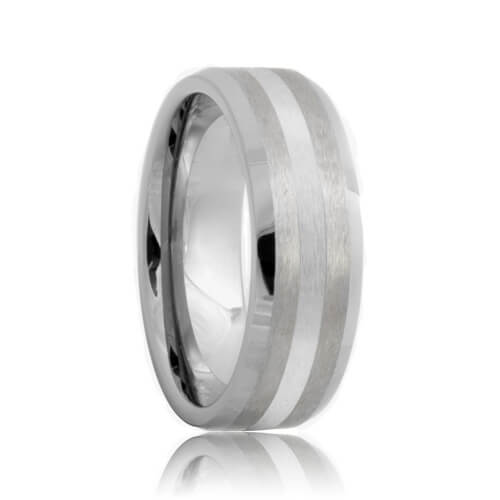 8mm Beveled Brushed Platinum Inlayed Tungsten Wedding Band