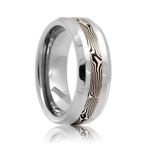 Beveled Wood Grain Mokume Inlaid Tungsten Wedding Ring (6mm - 8mm)