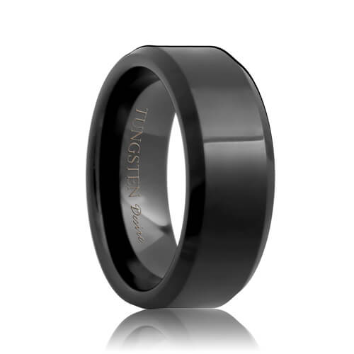 Beveled Black Tungsten Band (6mm - 8mm)