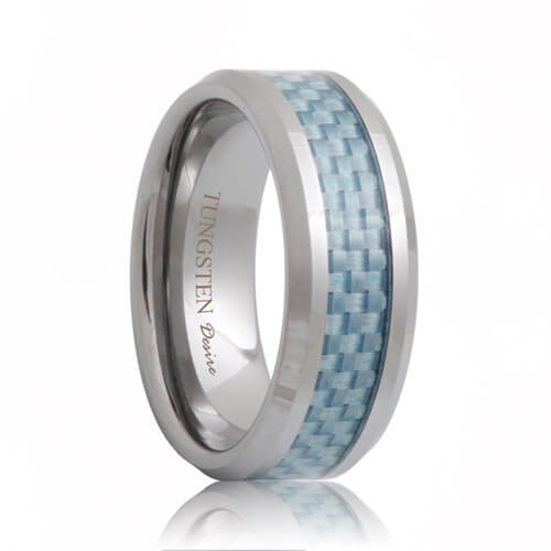 Blue Carbon Fiber Inlay Hand Woven Tungsten Carbide Ring (6mm - 8mm)