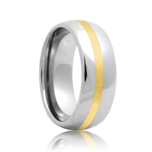 Round Tungsten Carbide Wedding Ring with Gold Inlaid (6mm - 8mm)