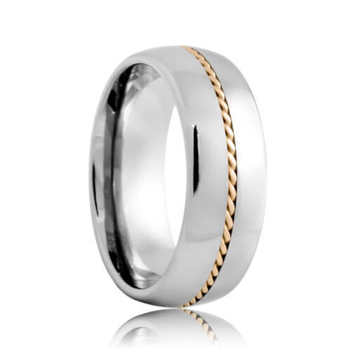 Domed Tungsten Band with Hand Woven Gold Braided Inlay (6mm - 8mm)