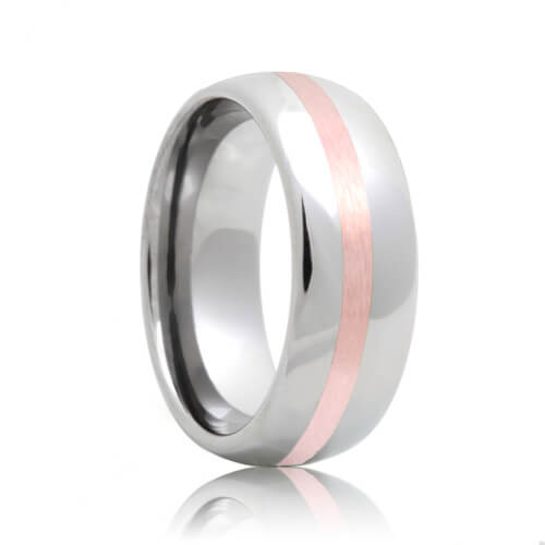 Domed Tungsten Wedding Ring with Rose Gold Inlay (6mm - 8mm)