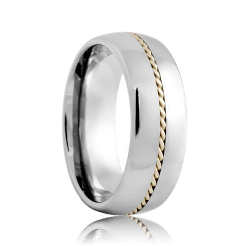 Round Hand Woven Sterling Silver Rope Inlaid Tungsten Ring (6mm - 8mm)