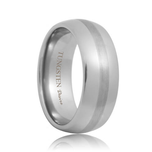 Domed Brushed Stripe Tungsten Jewelry Wedding Band (6mm - 8mm)