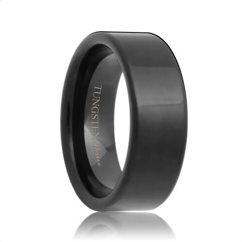 Indianapolis Flat Black Tungsten Carbide Wedding Ring 4mm 8mm