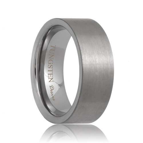 Flat Brushed Designer Tungsten Carbide Band (6mm - 8mm)
