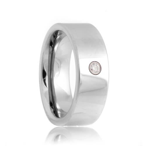 Diamond Solitaire Flat Tungsten Carbide Wedding Band (6mm - 8mm)