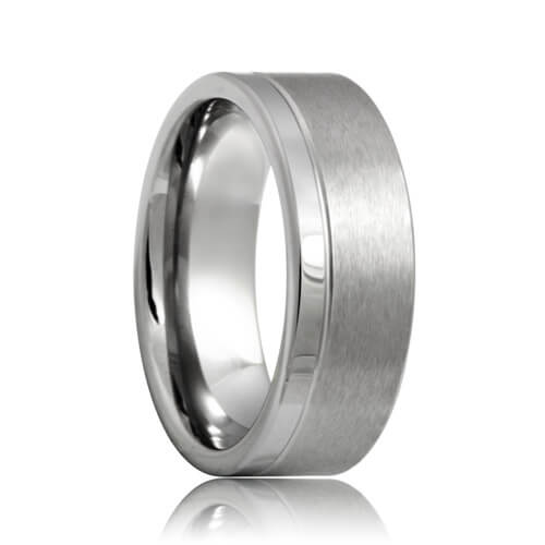 Flat Single Grooved wide Brushed and Polished Best Tungsten Band (6mm - 8mm)